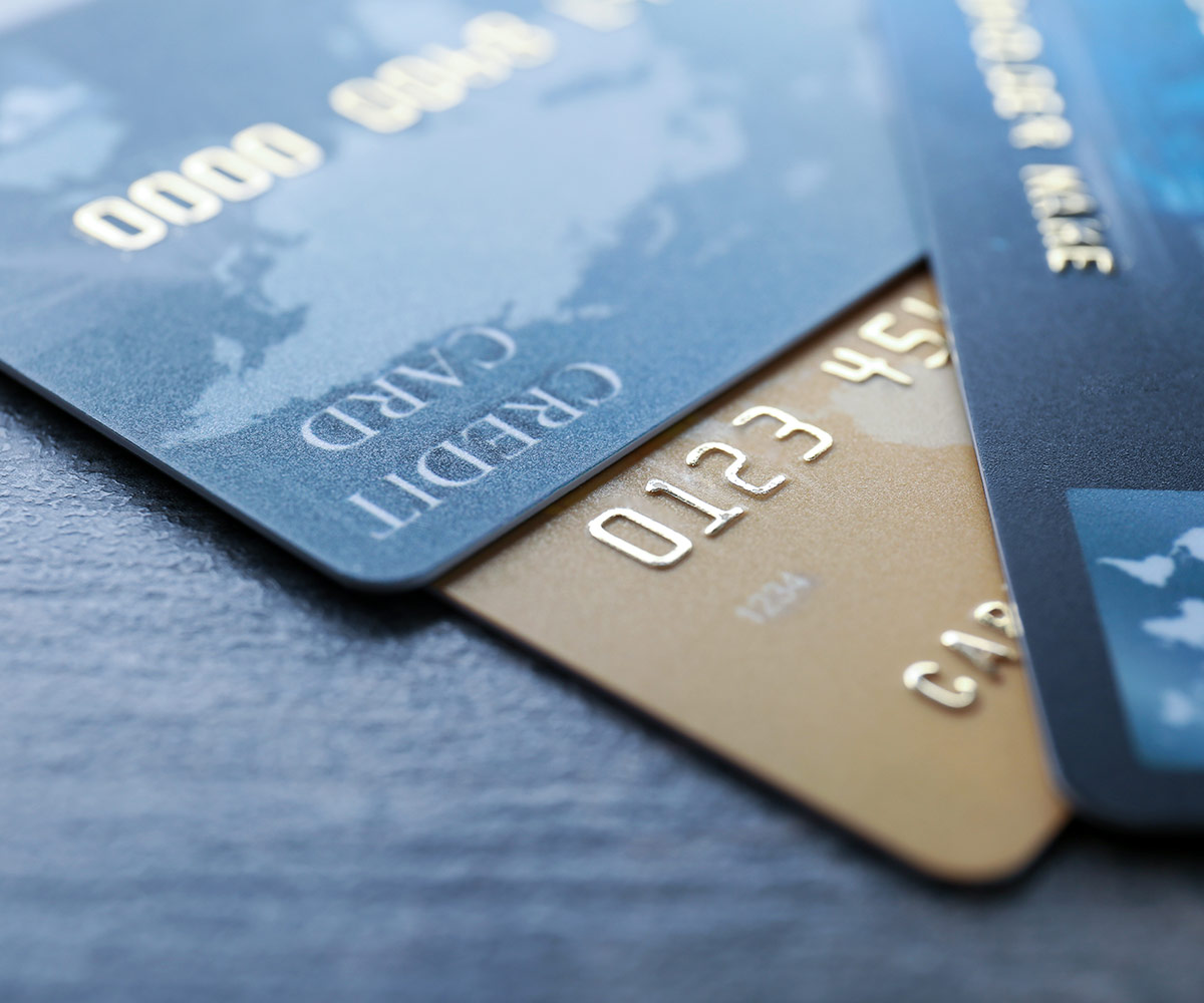 close up on credit cards, donation processing